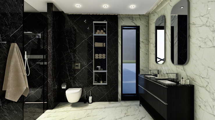 Ebeveyn yatak odası - banyo ANTE MİMARLIK Modern Banyo Siyah