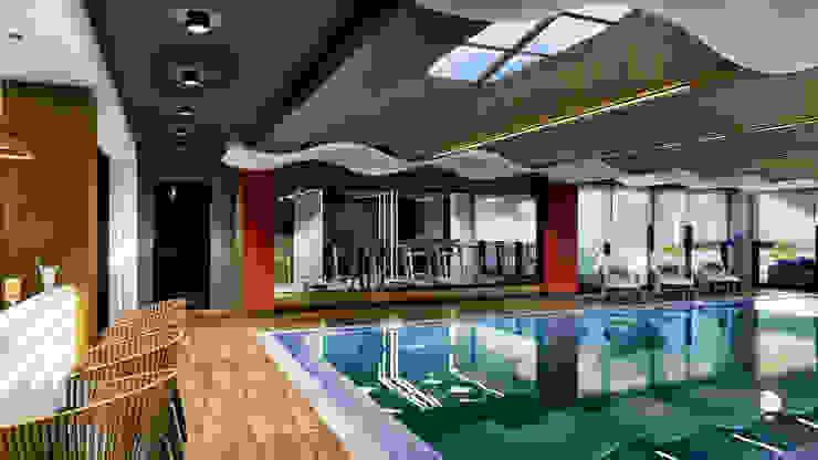 Sosyal alan - havuz&spor salonu ANTE MİMARLIK Yüzme göleti