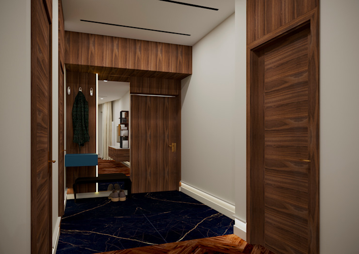 Modern Corridor, Hallway and Staircase by LEVI interior Modern Wood Wood effect