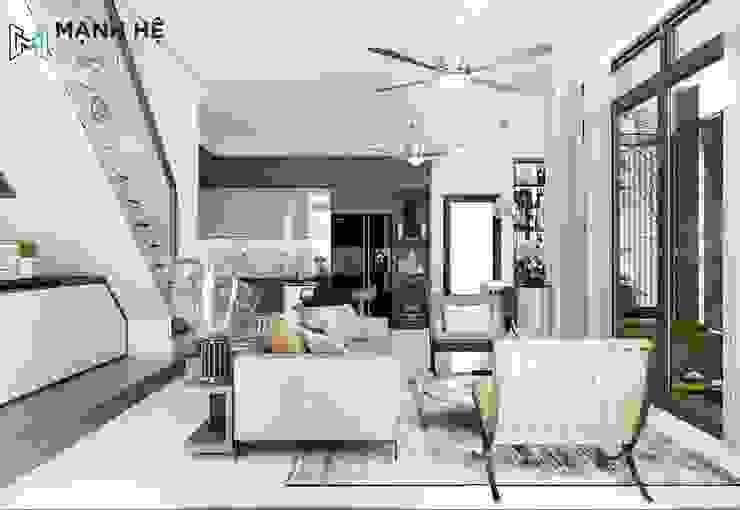 Cách thiết kế không gian phòng khách liền bếp thoáng đãng Phòng khách phong cách Bắc Âu bởi Công ty TNHH Nội Thất Mạnh Hệ Bắc Âu