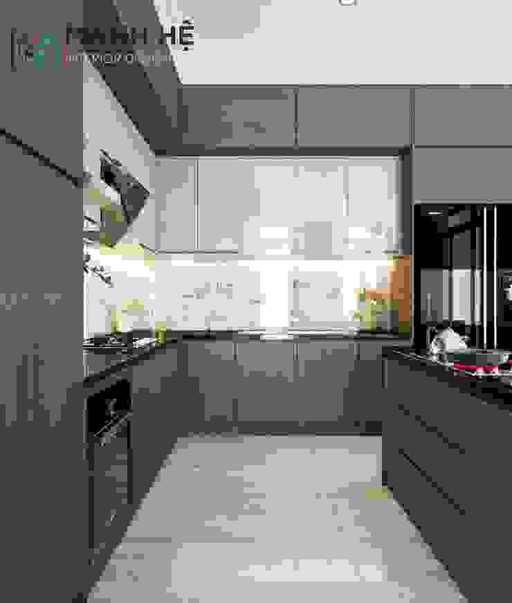 Chất liệu Acrylic và Melamine được lựa chọn để thiết kế hệ tủ bếp bền đẹp Nhà bếp phong cách Bắc Âu bởi Công ty TNHH Nội Thất Mạnh Hệ Bắc Âu