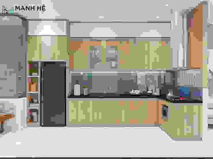 Tủ bếp kết hợp tủ lạnh và lò nướng tiện dụng cho mọi không gian bếp Công ty TNHH Nội Thất Mạnh Hệ Tủ bếp Gạch Grey