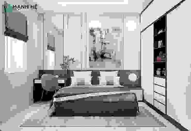 Không gian phòng ngủ master Công ty TNHH Nội Thất Mạnh Hệ Phòng ngủ nhỏ Cao su Black