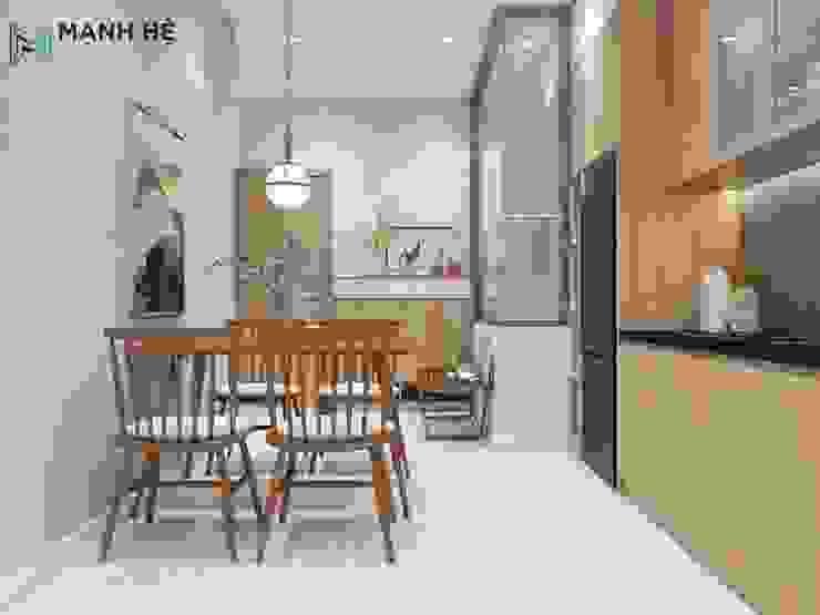 Phòng ăn nhỏ đơn giản Công ty TNHH Nội Thất Mạnh Hệ Phòng ăn phong cách hiện đại Đá hoa Brown