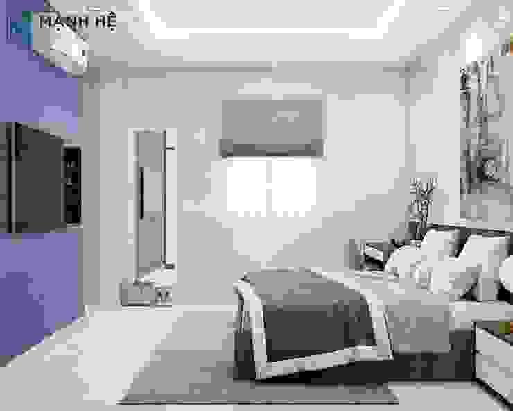 Phòng ngủ master thiết kế tiện nghi, hiện đại Công ty TNHH Nội Thất Mạnh Hệ Phòng ngủ nhỏ Gạch ốp lát Green