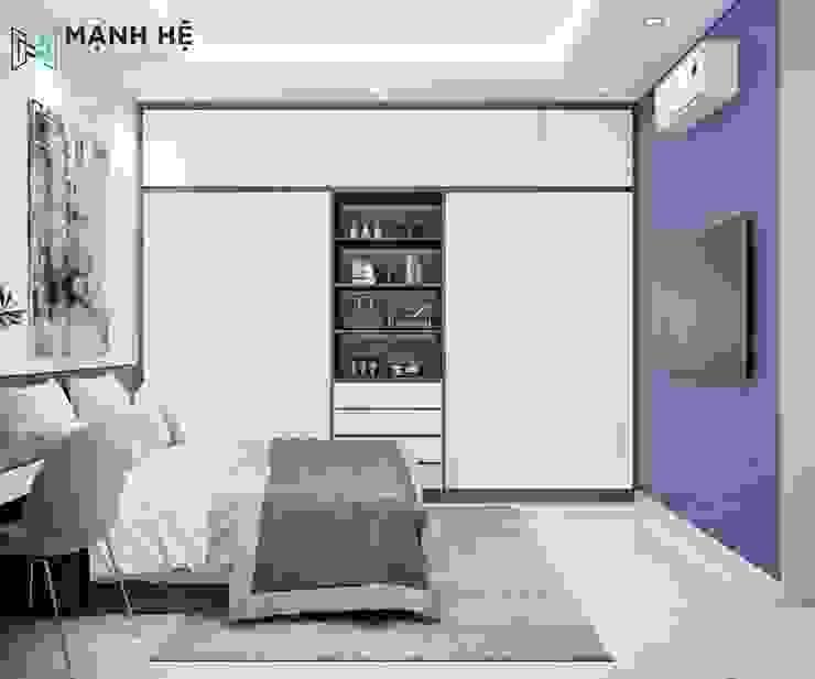 Tủ quần áo gỗ công nghiệp cửa lùa Công ty TNHH Nội Thất Mạnh Hệ Phòng ngủ nhỏ Đá hoa cương Brown