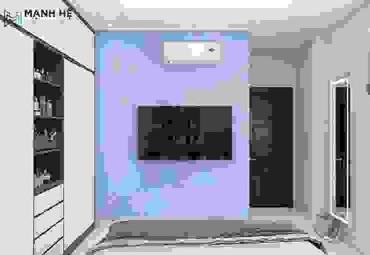 Phòng ngủ sử dụng giấy dán tường xanh làm cho không gian thêm phần tươi mới Công ty TNHH Nội Thất Mạnh Hệ Phòng ngủ nhỏ Đá hoa Black