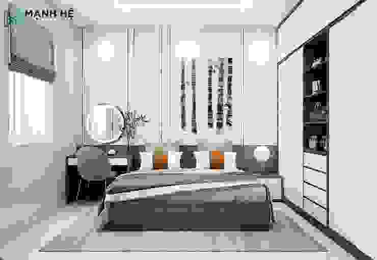 Tổng thể không gian phòng ngủ nhỏ Công ty TNHH Nội Thất Mạnh Hệ Phòng ngủ của trẻ em Đá hoa Brown