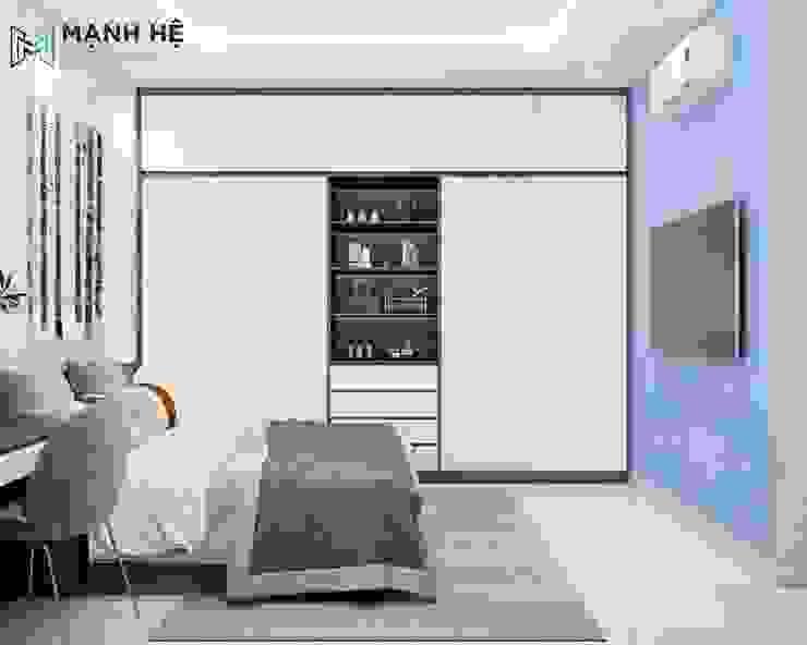 Tủ quần áo phòng ngủ nhỏ màu trắng viền nâu cửa lùa Công ty TNHH Nội Thất Mạnh Hệ Phòng ngủ của trẻ em Cao su Brown