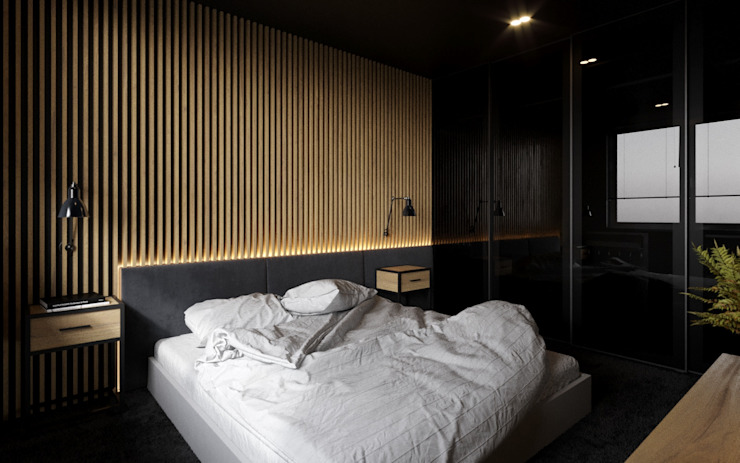 Ale design Grzegorz Grzywacz Modern Bedroom Wood Black
