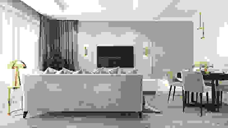 Z nutą stylu amerykańskiego Klasyczny salon od Ambience. Interior Design Klasyczny