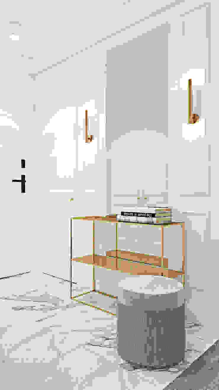 Z nutą stylu amerykańskiego Klasyczny korytarz, przedpokój i schody od Ambience. Interior Design Klasyczny