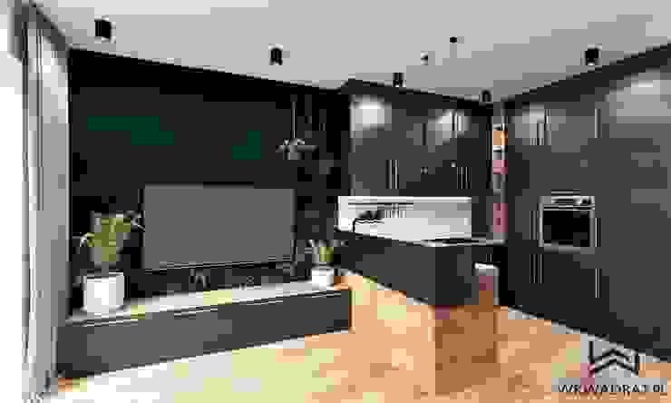 Salon z aneksem kuchennym Industrialny salon od Wkwadrat Architekt Wnętrz Toruń Industrialny Drewno O efekcie drewna