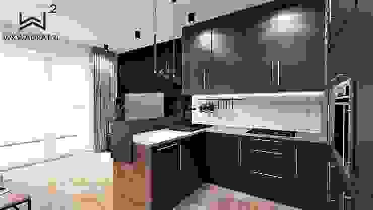 Salon z aneksem kuchennym od Wkwadrat Architekt Wnętrz Toruń Industrialny Drewno O efekcie drewna