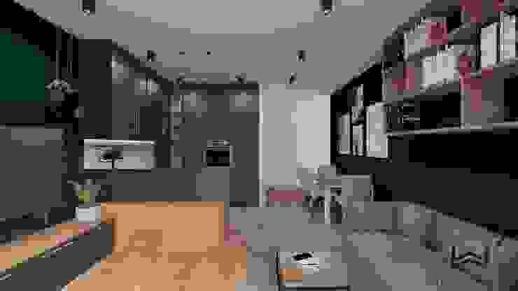 Salon z aneksem kuchennym Industrialny salon od Wkwadrat Architekt Wnętrz Toruń Industrialny Płyta MDF