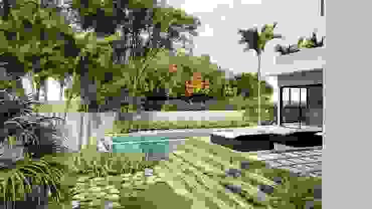 AJR ARQUITETURA Giardino con piscina Cemento Verde