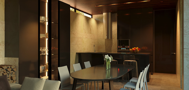 Атриумный дом Кухня в стиле минимализм от Shigeo Nakamura Design Office Минимализм Керамика