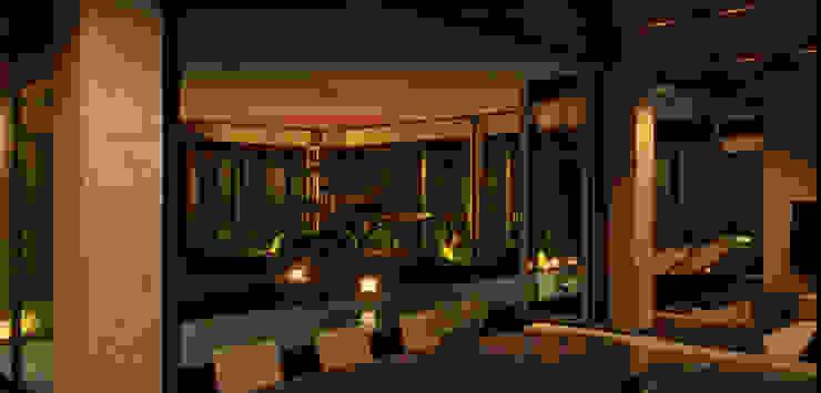 Атриумный дом Балкон и терраса в стиле минимализм от Shigeo Nakamura Design Office Минимализм Стекло