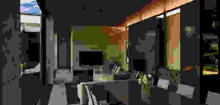 Атриумный дом Гостиная в стиле минимализм от Shigeo Nakamura Design Office Минимализм