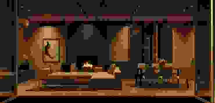 Атриумный дом Гостиная в стиле минимализм от Shigeo Nakamura Design Office Минимализм Камень