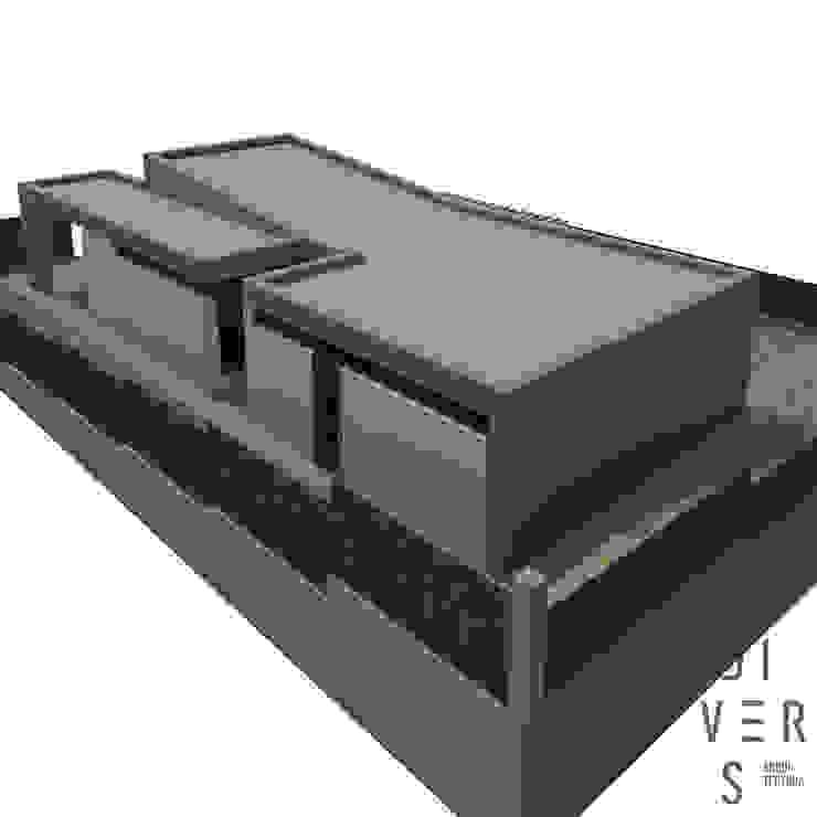 Vista aérea norte de Divers Arquitectura, especialistas en Passivhaus en Sabadell Moderno Madera Acabado en madera
