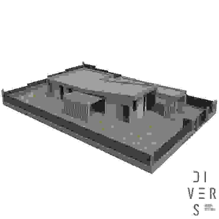 Vista aérea general de Divers Arquitectura, especialistas en Passivhaus en Sabadell Moderno Madera Acabado en madera