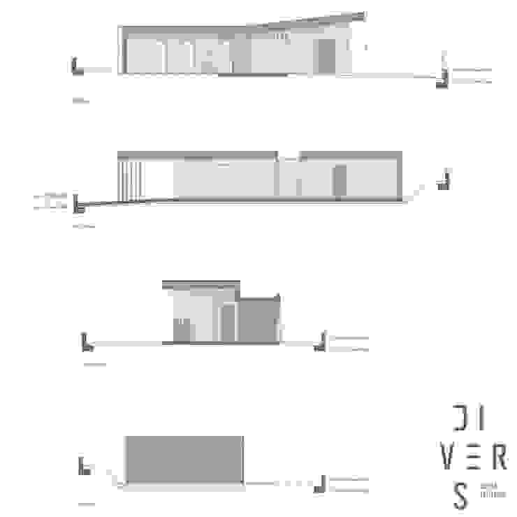 Alzados de Divers Arquitectura, especialistas en Passivhaus en Sabadell Moderno Madera Acabado en madera