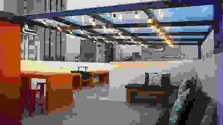 Terraza BBQ Balcones y terrazas de estilo rústico de TikTAK ARQUITECTOS Rústico Concreto