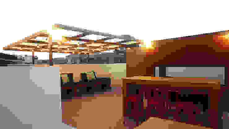 Sala estar terraza Salas de estilo rústico de TikTAK ARQUITECTOS Rústico Concreto