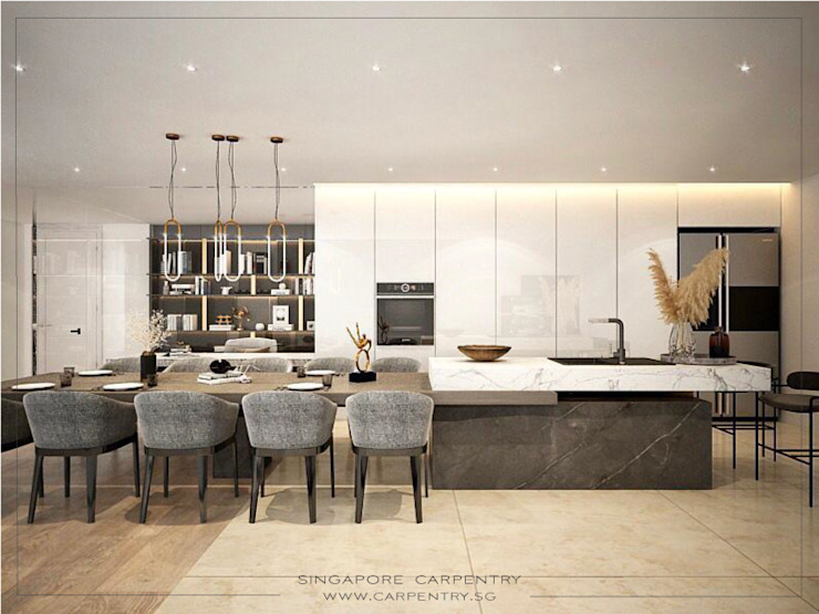 Subtle Luxury Modern kitchen by Singapore Carpentry Interior Design Pte Ltd Modern Wood Wood effect