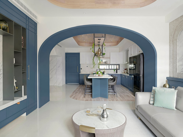 漢玥室內設計 Sala da pranzo in stile scandinavo Blu