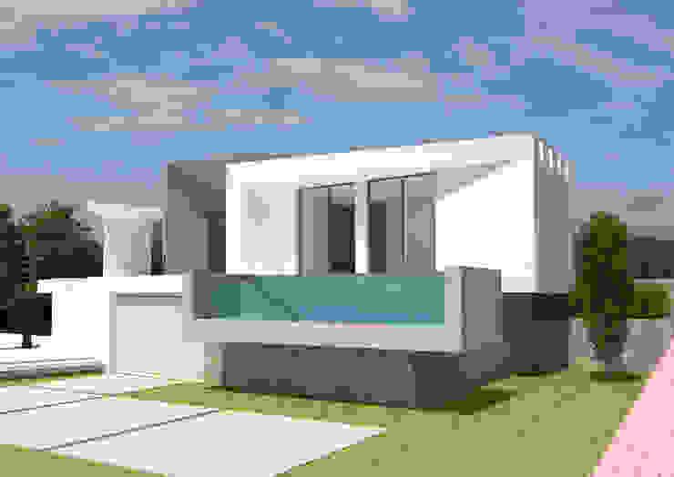 Fachada principal. Piscina de vidrio. de Barreres del Mundo Architects. Arquitectos e interioristas en Valencia. Minimalista Concreto