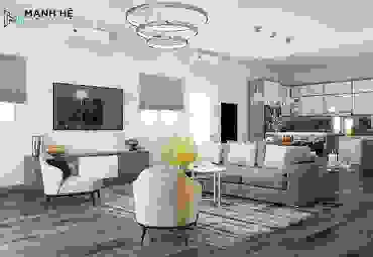 Chiếc ghế sofa chữ I chính là vách ngăn hoàn hảo cho phòng khách và phòng bếp bởi Công ty TNHH Nội Thất Mạnh Hệ Hiện đại Đá hoa cương