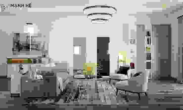 Phòng khách được cung cấp đủ ánh sáng tự nhiên lẫn nhân tạo bởi Công ty TNHH Nội Thất Mạnh Hệ Hiện đại Cao su