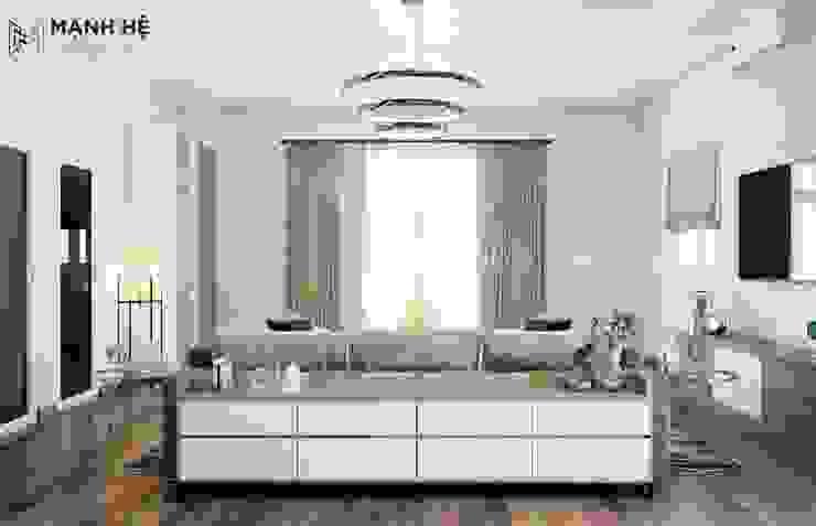 Tủ đựng đồ sau sofa có chức năng phân chia không gian và lưu trữ đồ bởi Công ty TNHH Nội Thất Mạnh Hệ Hiện đại Cục đá