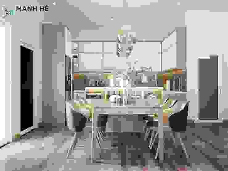Tổng thể không gian căn bếp hiện đại, tiện nghi bởi Công ty TNHH Nội Thất Mạnh Hệ Hiện đại Bê tông cốt thép