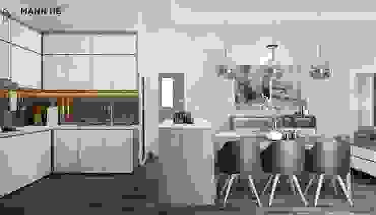 Không gian tủ bếp và bàn ăn được ngăn cách bởi đảo bếp rất tinh tế bởi Công ty TNHH Nội Thất Mạnh Hệ Hiện đại