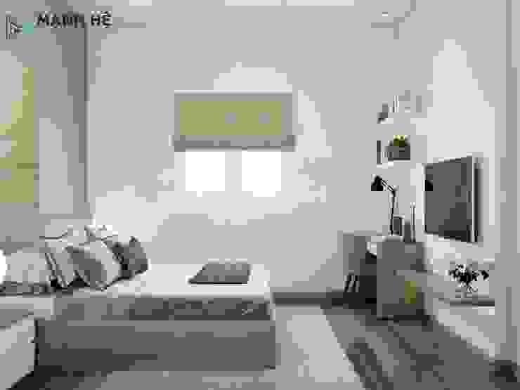 Phòng ngủ master với nội thất được làm từ gỗ công nghiệp Phòng ngủ phong cách hiện đại bởi Công ty TNHH Nội Thất Mạnh Hệ Hiện đại Đá hoa cương