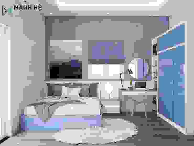 Phòng ngủ cho bé với màu xanh năng động bởi Công ty TNHH Nội Thất Mạnh Hệ Hiện đại Bê tông cốt thép