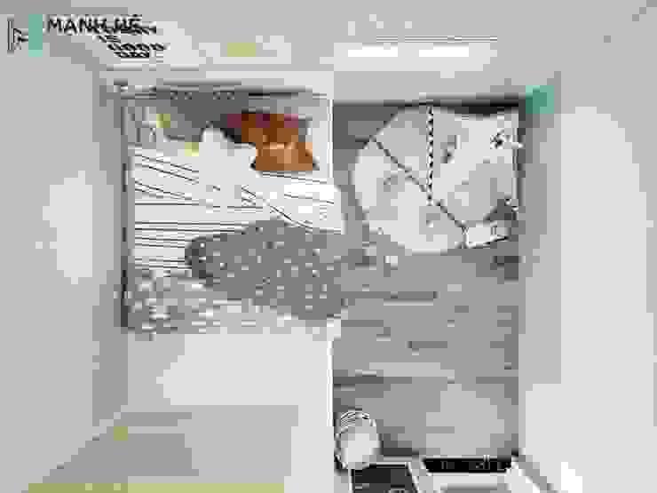 Phòng ngủ được thiết kế màu xanh bạc hà tươi mát phối hợ với màu vàng nhạt bởi Công ty TNHH Nội Thất Mạnh Hệ Hiện đại Đá vôi