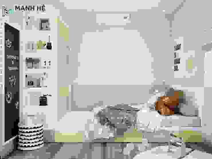 Phòng ngủ nhỏ xinh xắn với màu sắc vô cùng bắt mắt bởi Công ty TNHH Nội Thất Mạnh Hệ Hiện đại Cục đá