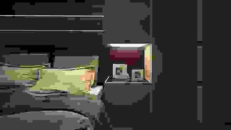 İsmail Sağıt Apartment MAK Concept Mimarlık Modern Yatak Odası Ahşap Gri