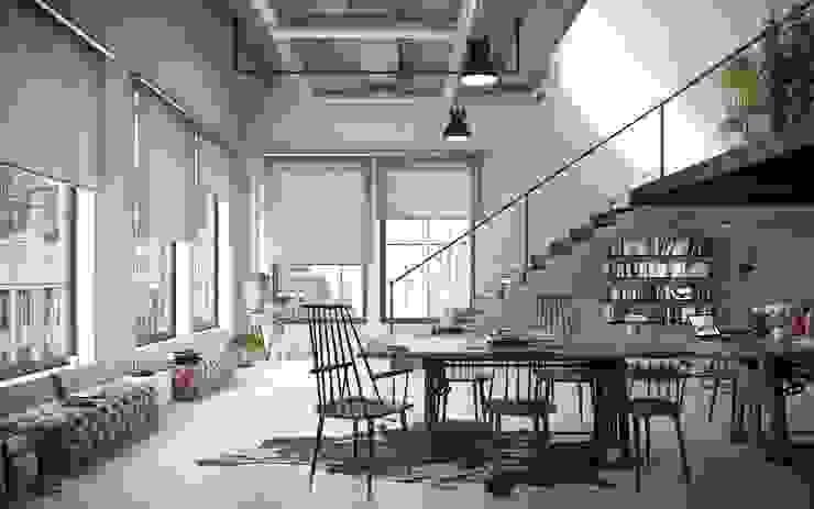 Tende A Rullo Per Loft Moderno Fabbi Tende Soggiorno moderno Alluminio / Zinco Grigio