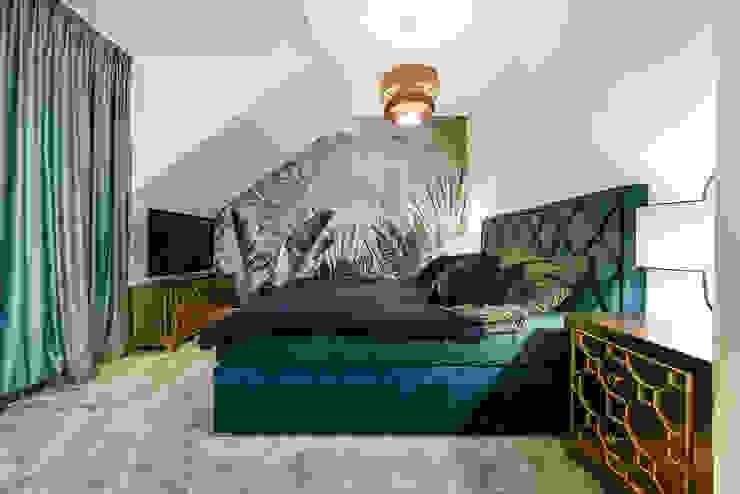 mocne barwy w sypialni Nowoczesna sypialnia od livinghome wnętrza Katarzyna Sybilska Nowoczesny