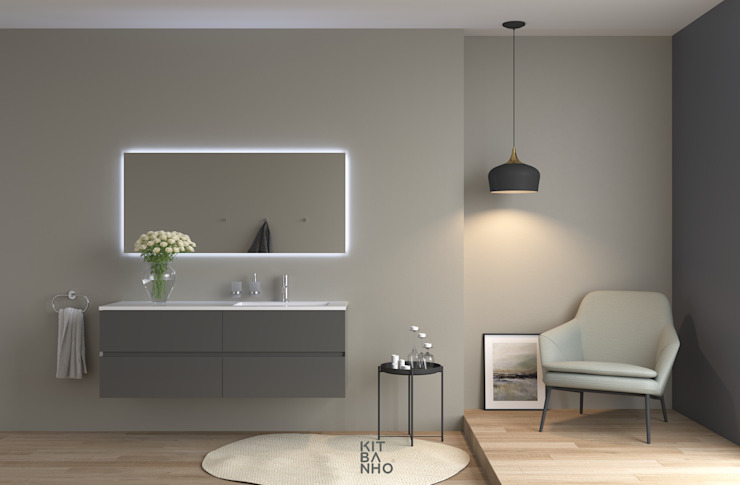 KitBanho ® BathroomMedicine cabinets MDF Grey