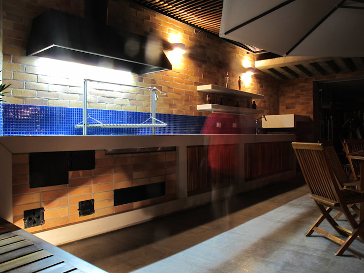 Imagen nocturna Cocina Exterior de A. Ordóñez Arquitectura Moderno