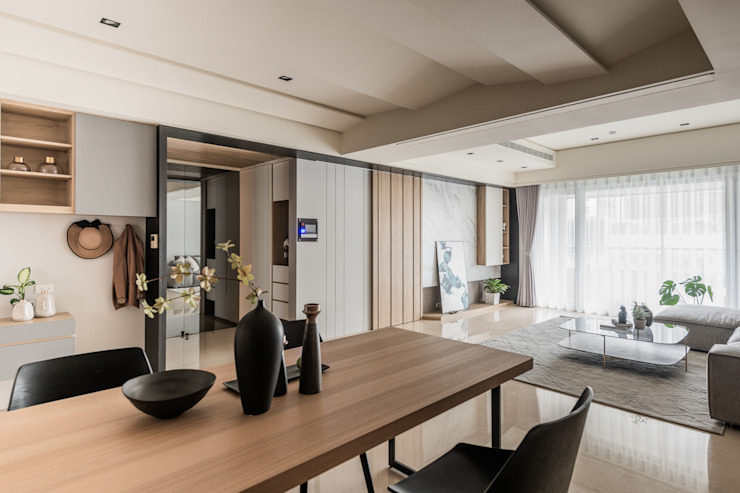 信義亞緻8F 现代客厅設計點子、靈感 & 圖片 根據 達力設計有限公司 現代風 大理石