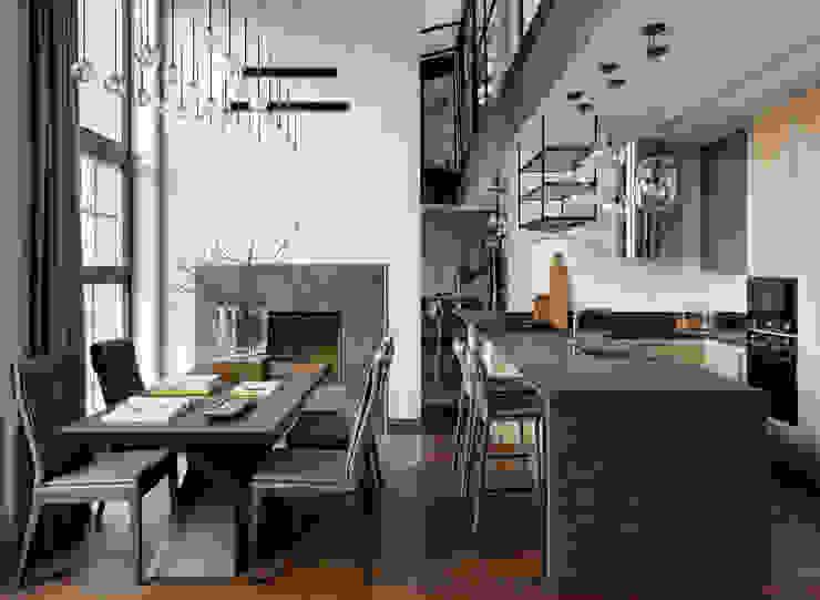 Столовая и кухонная зона Rubleva Design Столовая комната в стиле лофт