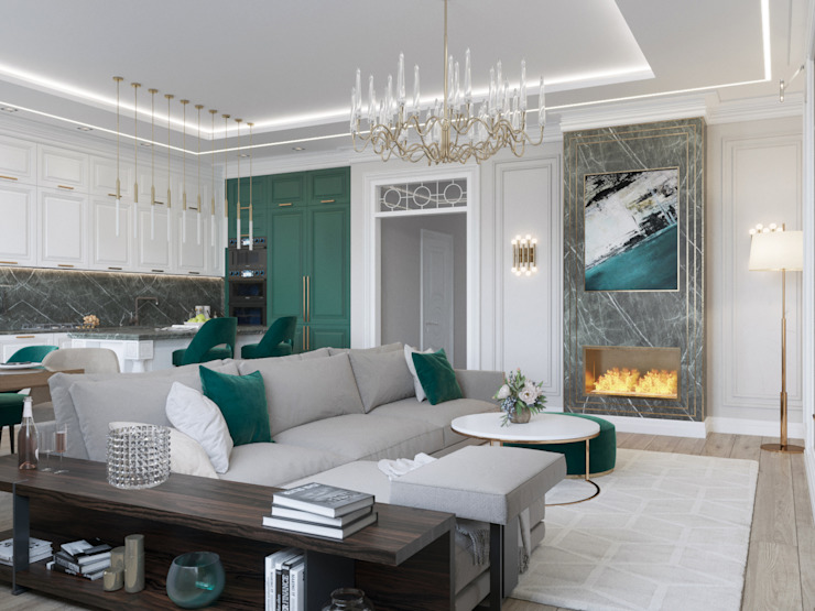 Livings de estilo clásico de Rubleva Design Clásico