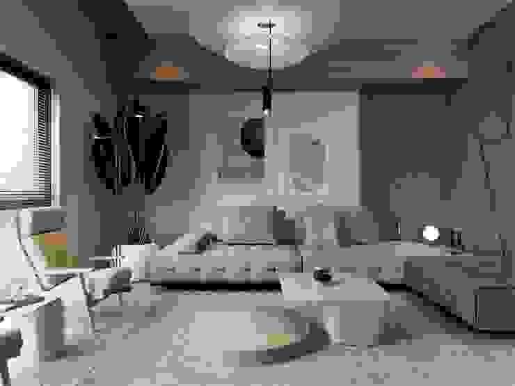 Гостиная в стиле модерн от Murat Aksel Architecture Модерн Дерево Эффект древесины